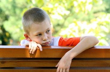 Sight of the boy at a bench