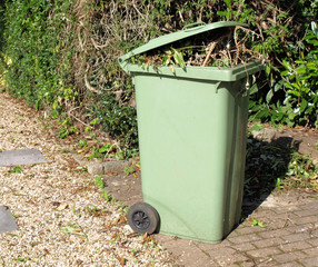 Green garden wheelie bin, UK.