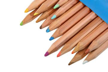 Set of multicolored wood pencils.