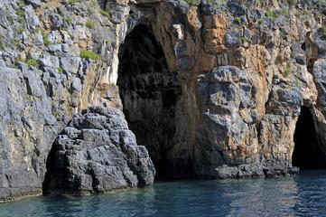 Natural big cave along seacoast, Palinuro, Italy