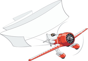 Vector retro airplane with blank banner