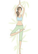 yoga girl with bamboo tree, vector