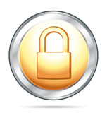 Padlock security gold and silver icon