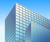 Bright Blue City Business Building poster