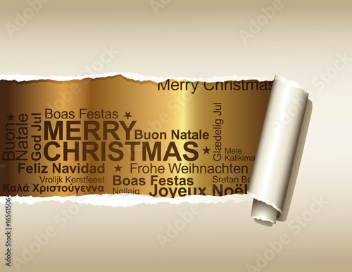 fototapete ripped paper background with christmas greetings. Black Bedroom Furniture Sets. Home Design Ideas