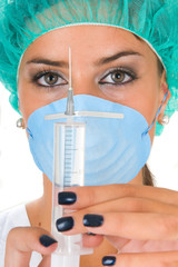 female doctor medical with investigation or operation dress