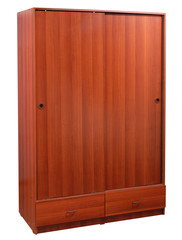 Closet with drawers. Clipping path