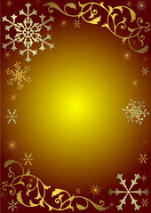 Red christmas background with golden and silvery snowflakes