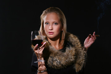 ellegant beautiful woman with wine