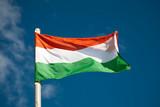 Hungarian flag against blue sky poster