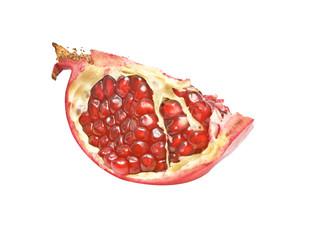 Pomegranate segment isolated on white background