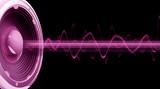 Fototapety Flyer audio spectre rose fond noir