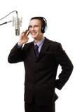 Man host at radio station speak to microphone poster
