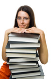 Clever woman student on pile of books poster