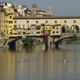 kayaking on Arno river, Florence poster