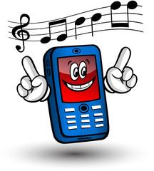 Comic-Handy blau, rot - musikalisch