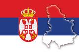 serbia serbien montenegro flag flagge shape poster