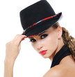 Beauty female with fashionable glamour hat
