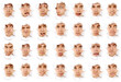 expressive faces of the emotional person in a paper hole