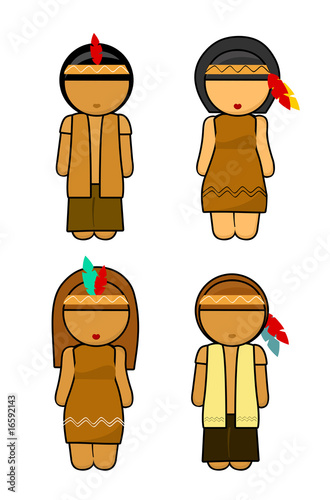 Thanksgiving Indians couples Illustration