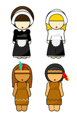 Thanksgiving Indians and Pilgrims women Illustration
