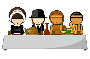 Thanksgiving day dinner Illustration