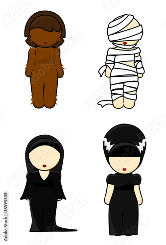 Illustration of halloween costumes Girls on white background