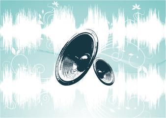 blue speaker with waveform