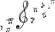 Einzelne Noten, Notenschlüssel, Musiknoten, Musik