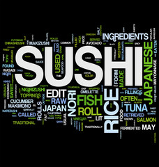 Japanese Sushi word cloud