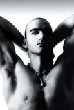Black and white portrait of a sexy young shirtless man poster