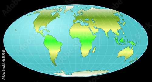 whole earth globe with heat zones
