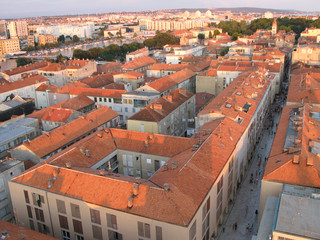 Old city of Zadar, Adriatic Coast, Croatia, aerial view