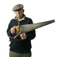 Senior man with tool