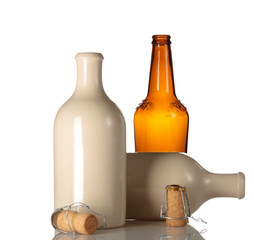 empty ceramic beer bottle with corks
