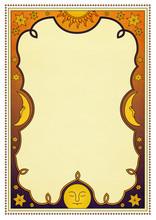 Sonne, Mond, Sterne, Rahmen, astrologie, tarot