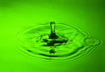 water splash in green