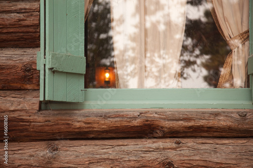 Classic Vintage Log Cabin Window Abstract.