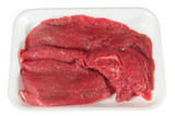 Raw meat packaging. Clipping path