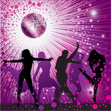 Fototapety Vector background with people dancing in night-club