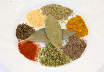 White dish with many spices