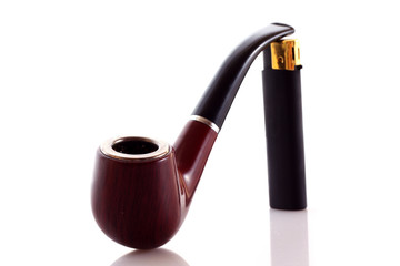 Pipe and lighter on  white background