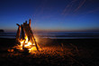 Campfire on shi shi beach in Olympic national park - 16617568