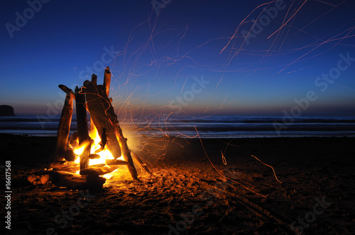 Campfire on shi shi beach in Olympic national park