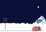 Santa walking to sleigh hire shop on Christmas Eve poster