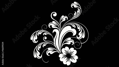 glowing floral background on black