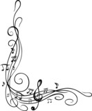Fototapety Noten, Notenschlüssel, Musiknoten, Musik, Ranke
