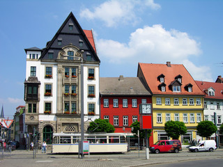Colourful houses in downtown Erfurt, Germany