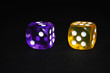 Dice purplr and yellow 1