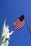 Las Vegas - American flag and replica Statue of Liberty poster
